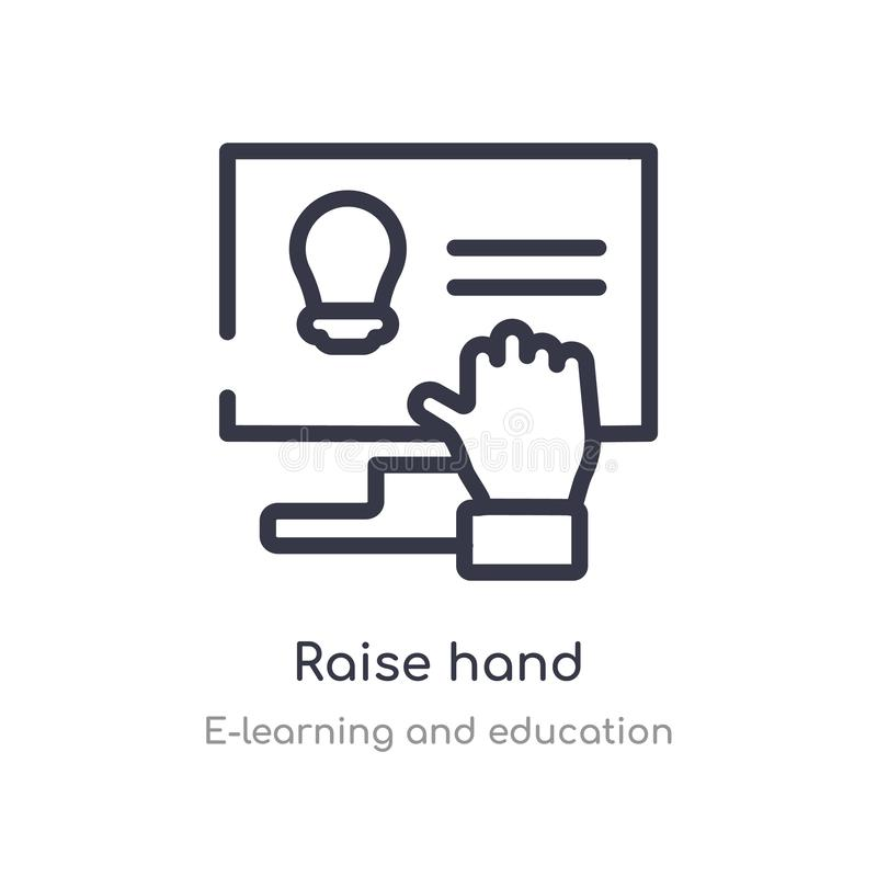 raise hand outline icon. isolated line vector illustration from e-learning and education collection. editable thin stroke raise stock illustration