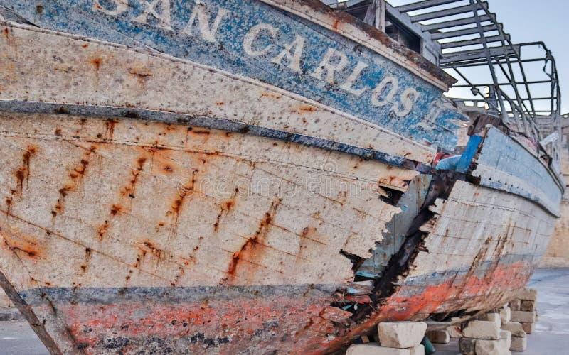 Raise, old, broken Ship Wreck of San Carlos near yacht harbour stock image