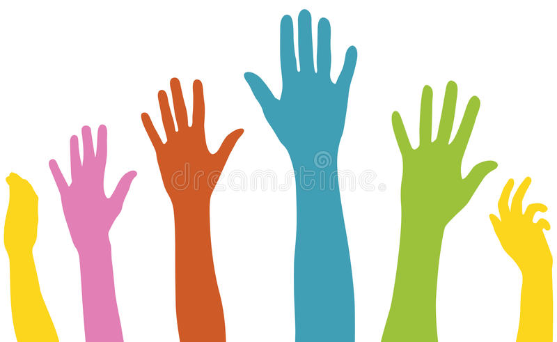 Download Raised arms of diversity stock vector. Image of multi - 28359004