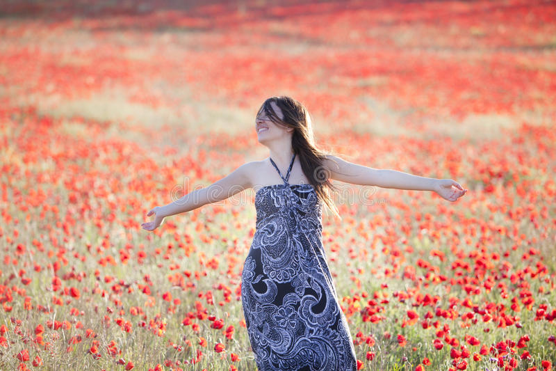 Raised arms on field royalty free stock images
