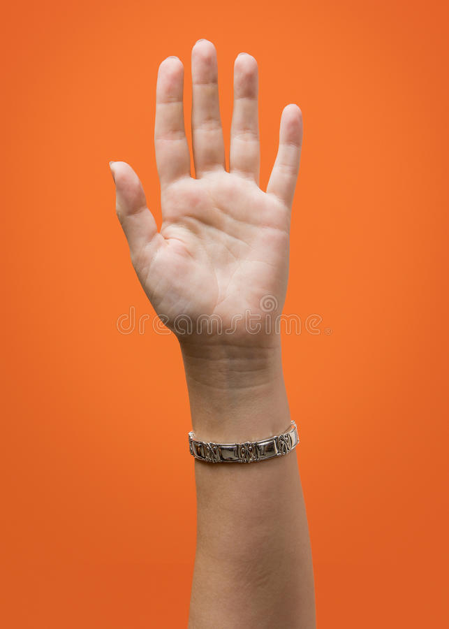Raised Female Hand Isolated stock images