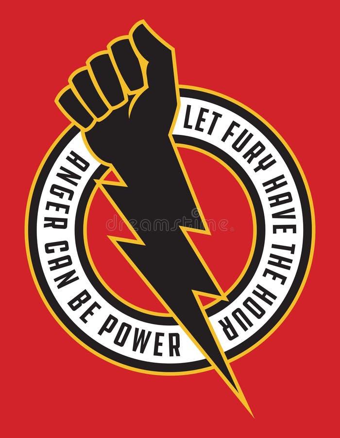 Free Raised Fist Lightning Bolt Anger Protest Badge. Stock Photo - 213396170