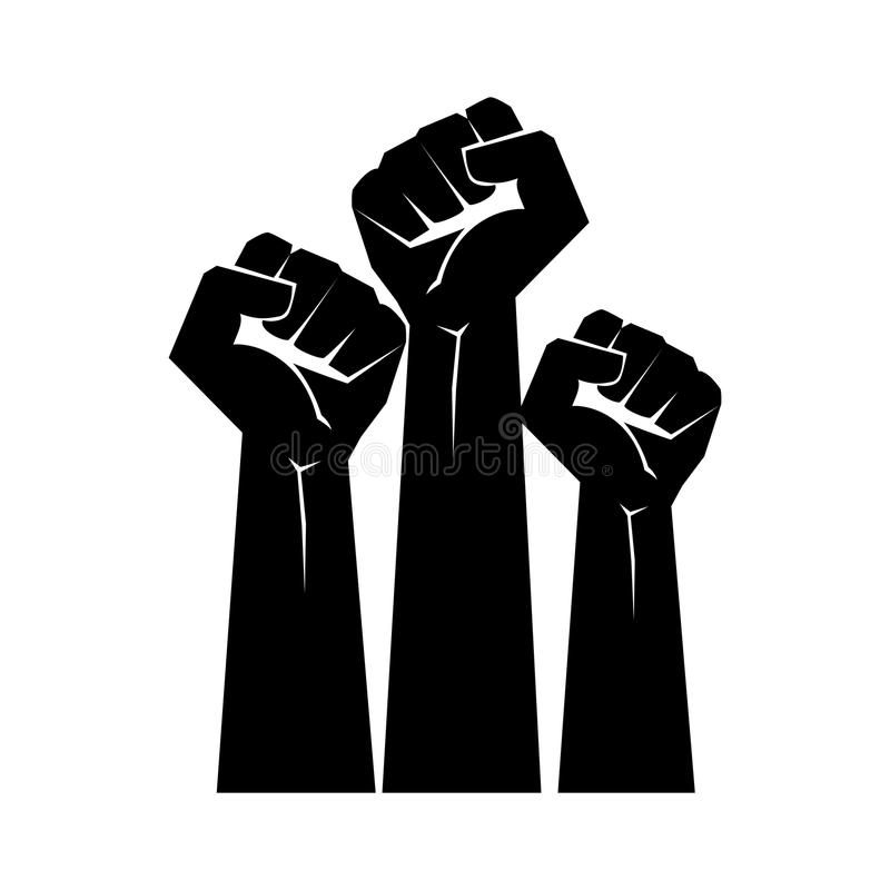 Raised fists resistance silhouette. Design stock illustration