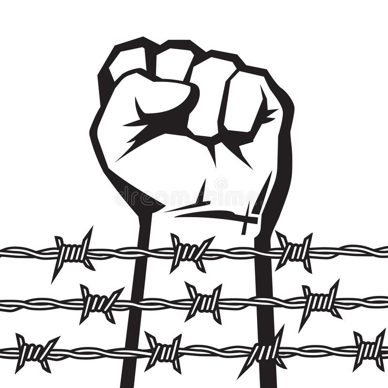 Raised hand with clenched fist behind barbed wire. Vector. Raised hand with clenched fist behind barbed wire. Protest against violence and injustice. Struggle stock illustration