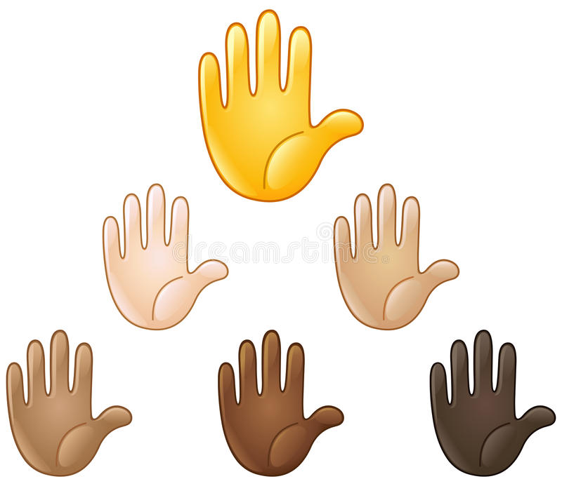 Raised hand emoji stock illustration