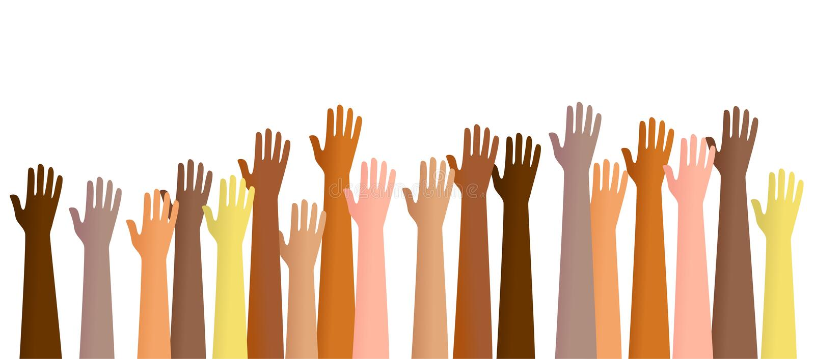 Raised hands stock illustration