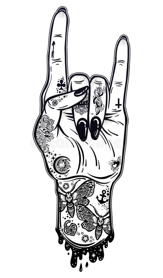 Free Raised Inked Hand As A Rock And Roll Sign Gesture With Black Nails. Stock Photography - 116695762