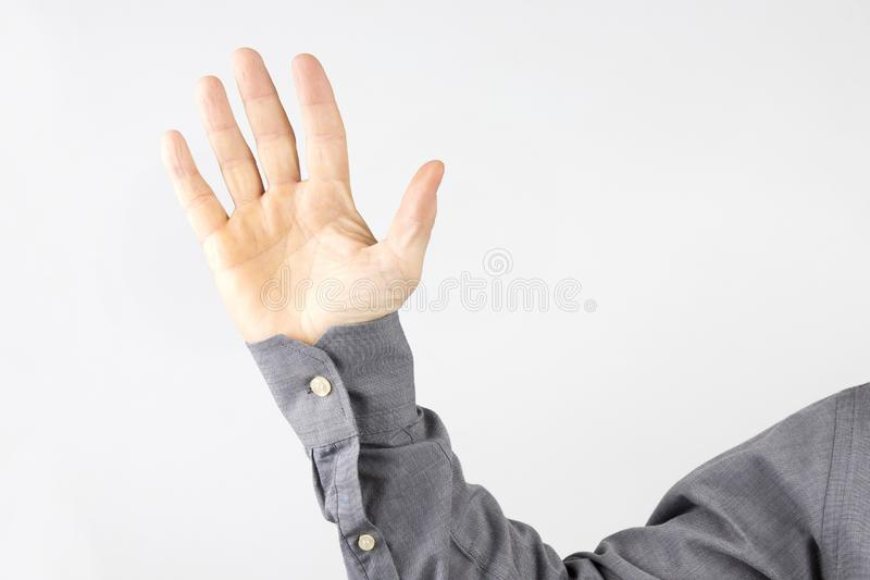 Raised open palm of a man royalty free stock images