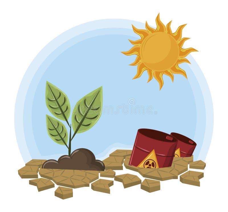 Raised plant next to hazardous waste. And sun icon cartoon vector illustration graphic design royalty free illustration