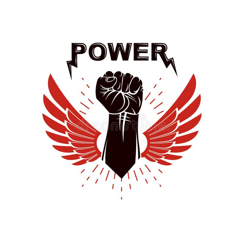 Raised Strong Clenched Fist Winged Logo Best Fighter Vector Sym