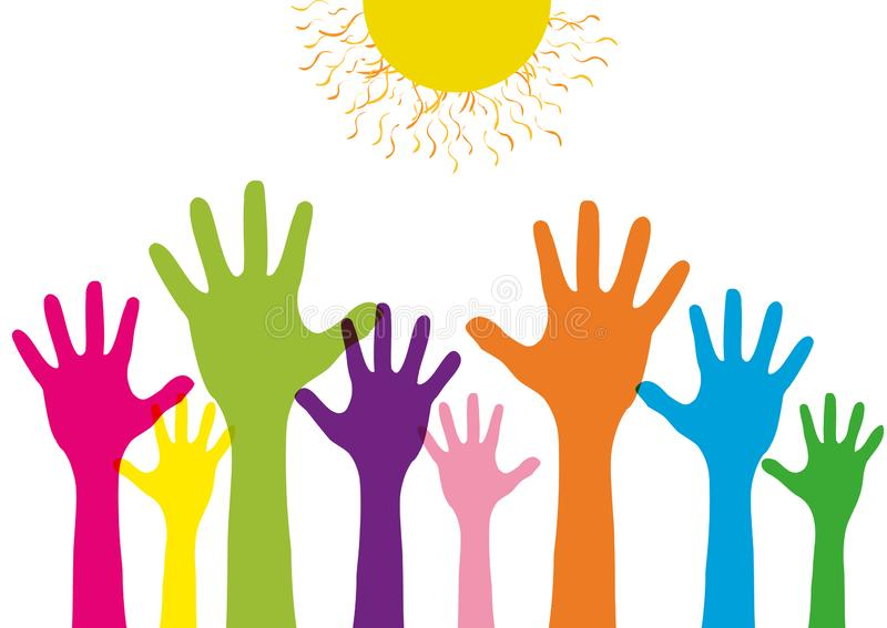 Raised up children`s border with colorful silhouettes hands. Concept design group is the crowd willing to help. Isolated royalty free illustration