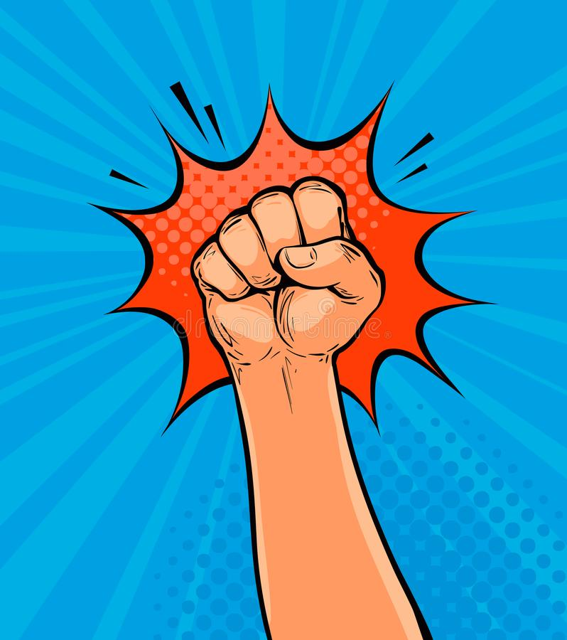 Raised up clenched fist drawn in pop art retro comic style. Cartoon vector illustration. Clenched fist drawn in pop art retro comic style. Cartoon vector vector illustration