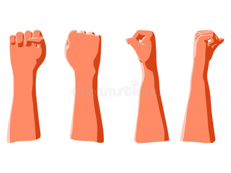 Raised up fist as illustration of human victory in resistance. Raised up fist as symbol of protest, power, revolution, freedom, illustration of human victory in stock illustration
