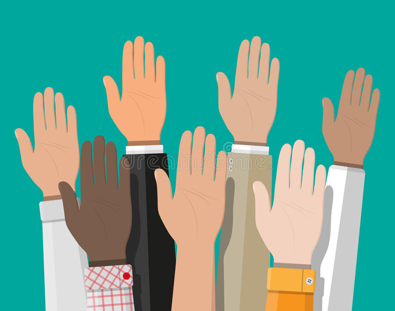 Raised up hands. People vote hands. stock illustration