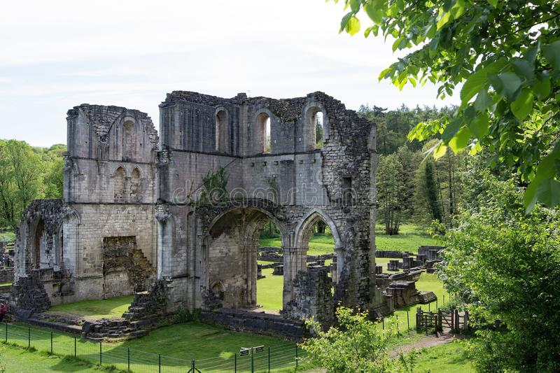 View of Roche Abbey, from the embankment. royalty free stock photos