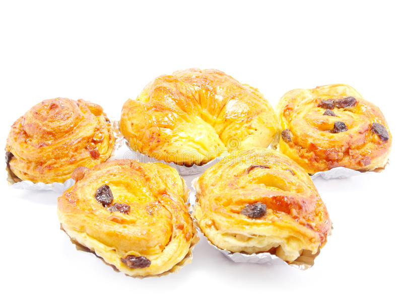 Raisin brioche sweet danish pastries. Closeup sweet fruit danish desserts royalty free stock photo
