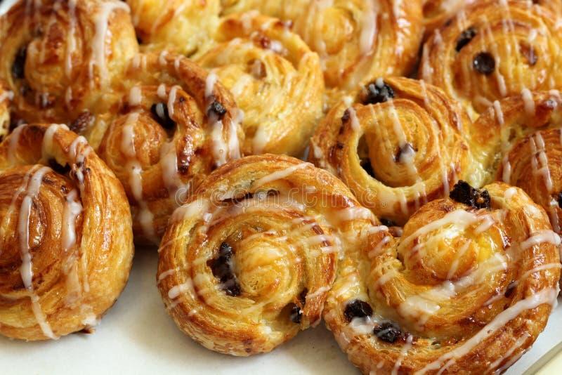 Raisin Brioche Sweet Danish Pastries. A Display of Raisin Brioche Sweet Danish Pastries stock photography