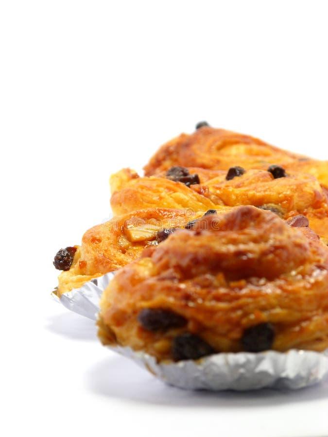 Raisin brioche sweet danish pastries. Raisin danish pastry isolated on white background stock images