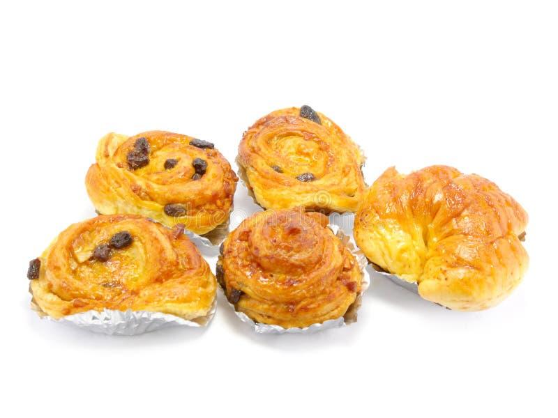 Raisin brioche sweet danish pastries. Raisin danish pastry isolated on white background stock image