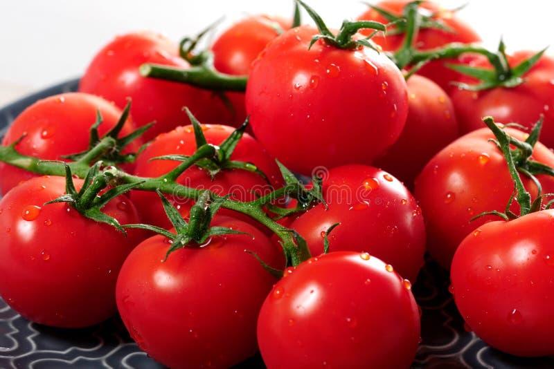 Raisin des tomates-cerises sur le plat bleu photo stock