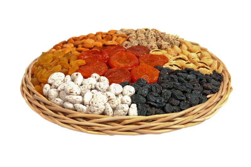 Raisin sec, amandes, abricots secs, arachide image stock