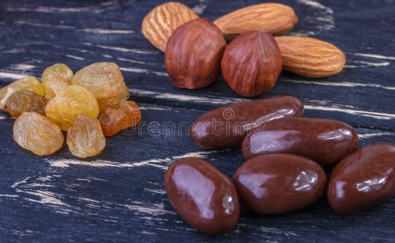 Raisin sec avec du chocolat, amandes, noisettes image stock