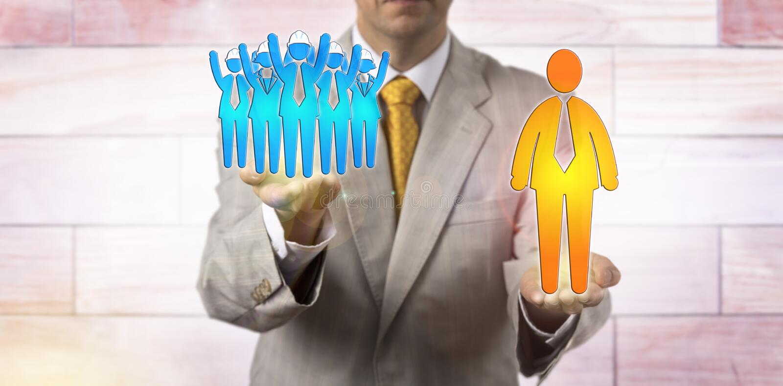 Raising Cheering Worker Team Above Giant Manager royalty free stock photos