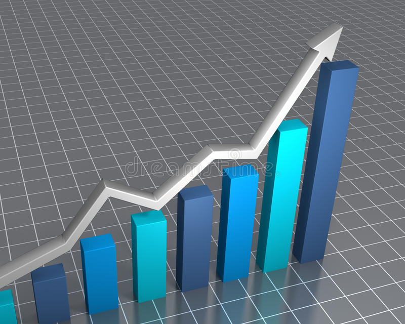 Raising financial statistics. 3D rendered image showing rapid growth vector illustration