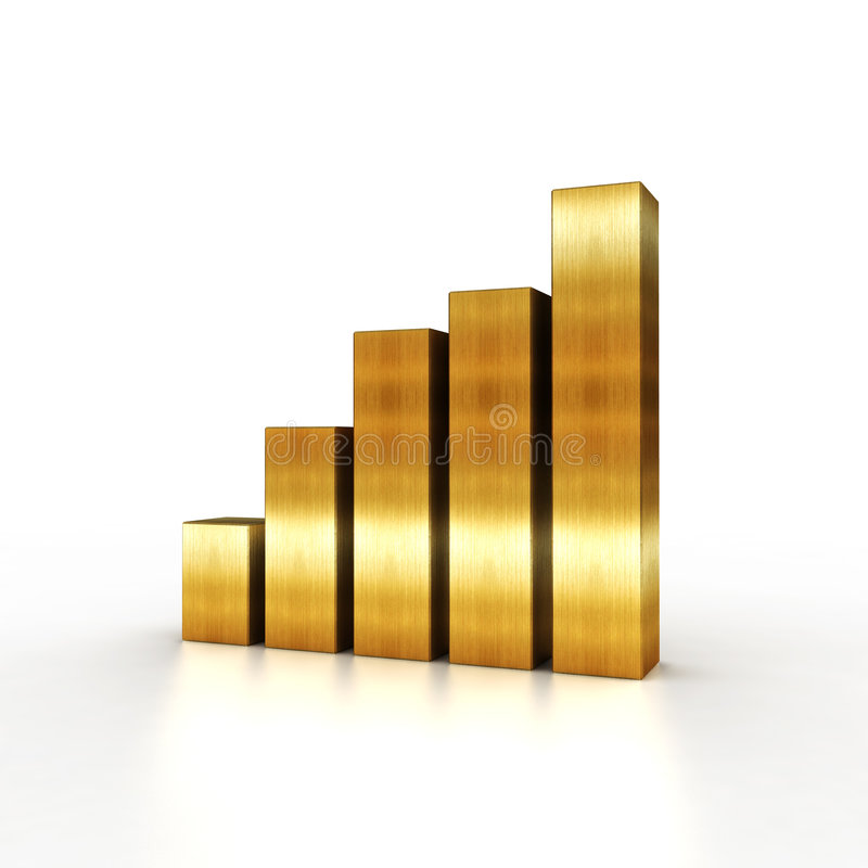 Raising gold chart vector illustration