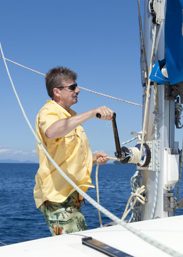Download Raising the sail stock photo. Image of adventure, deck - 25099494