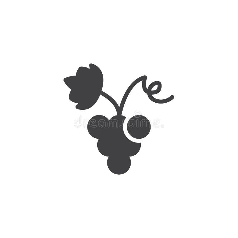 Raisins avec l'icône de vecteur de feuille de raisin illustration de vecteur