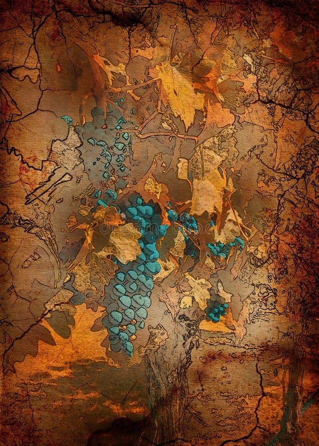 Raisins bleus avec Autumn Leaves image stock