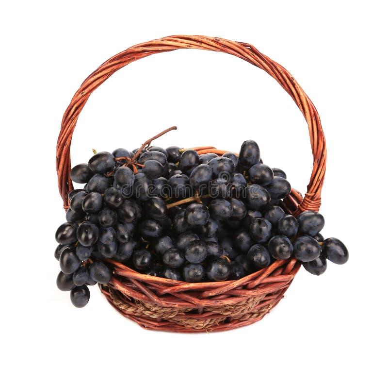 Raisins mûrs noirs dans le panier. images libres de droits