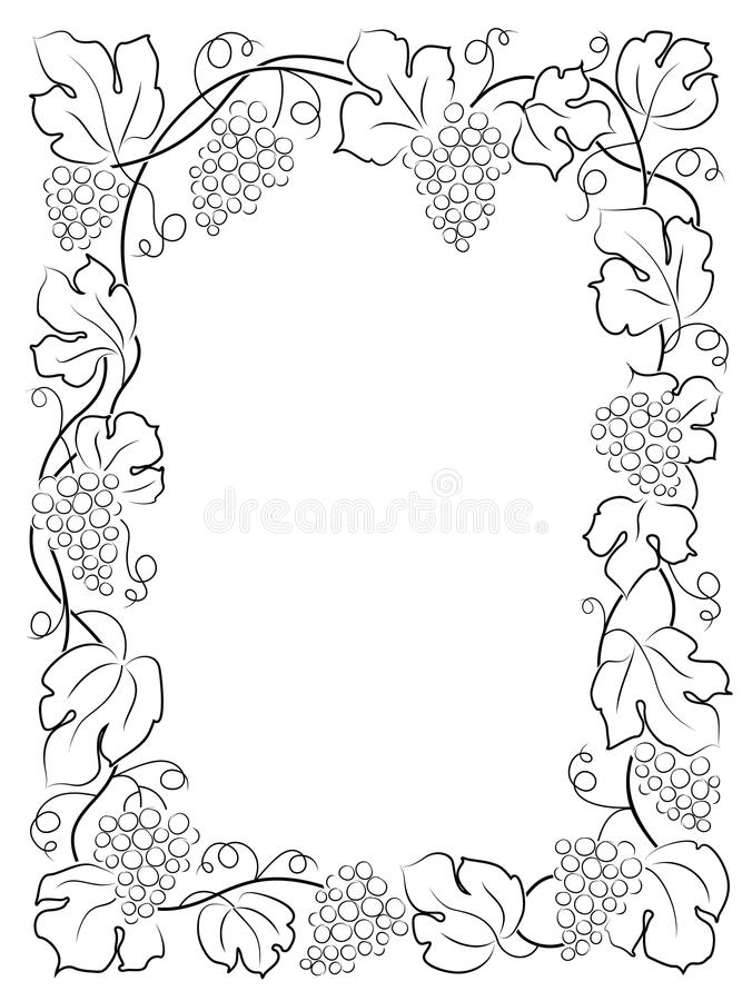 raisins noirs de vigne de label de vin de cadre de calligraphie illustration de vecteur. Black Bedroom Furniture Sets. Home Design Ideas