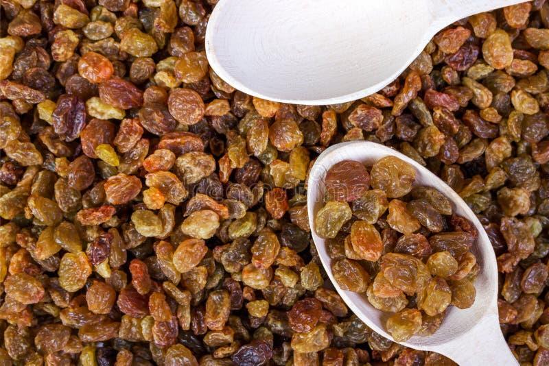 Raisins secs dans une cuillère en bois, plan rapproché, fond de nourriture photos libres de droits