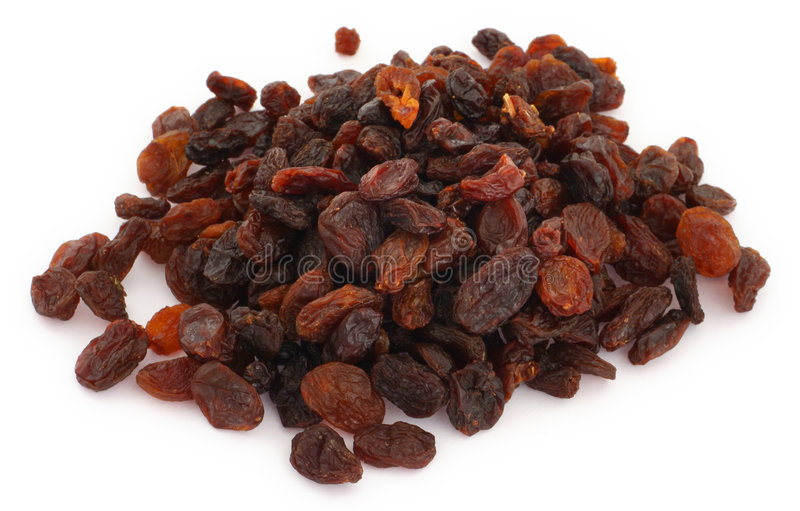 Raisins secs sur le blanc photo libre de droits