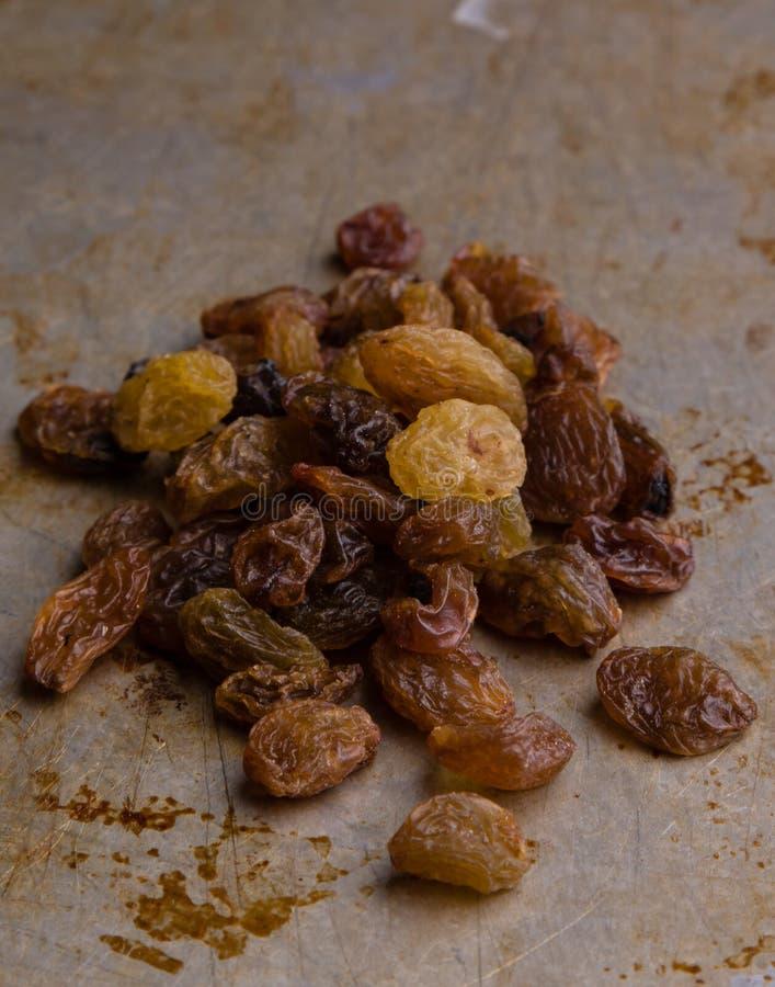 Raisins on steel plate stock image