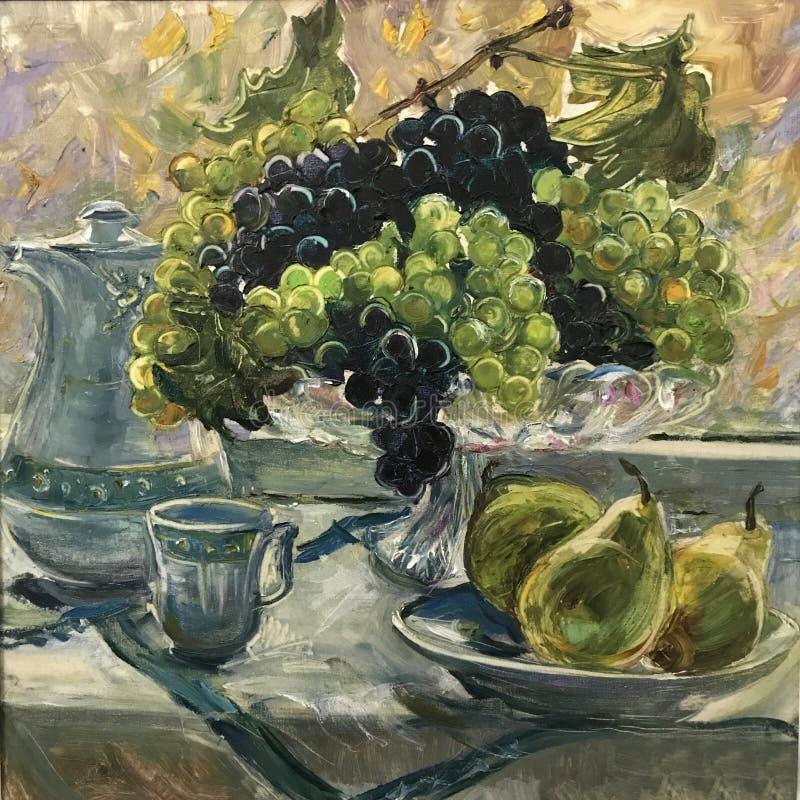 Raisins vert-bleu de peinture dans le vase illustration stock