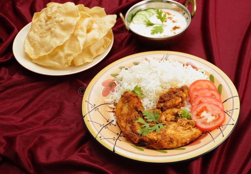 Raita e pappadums da galinha do Kashmiri fotos de stock