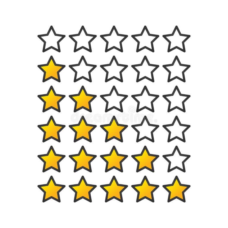 Raiting symboler för gul eller guld- lutningstjärna Ge fem stjärnor som raiting plan design Vektorillustration som isoleras på vi royaltyfri illustrationer