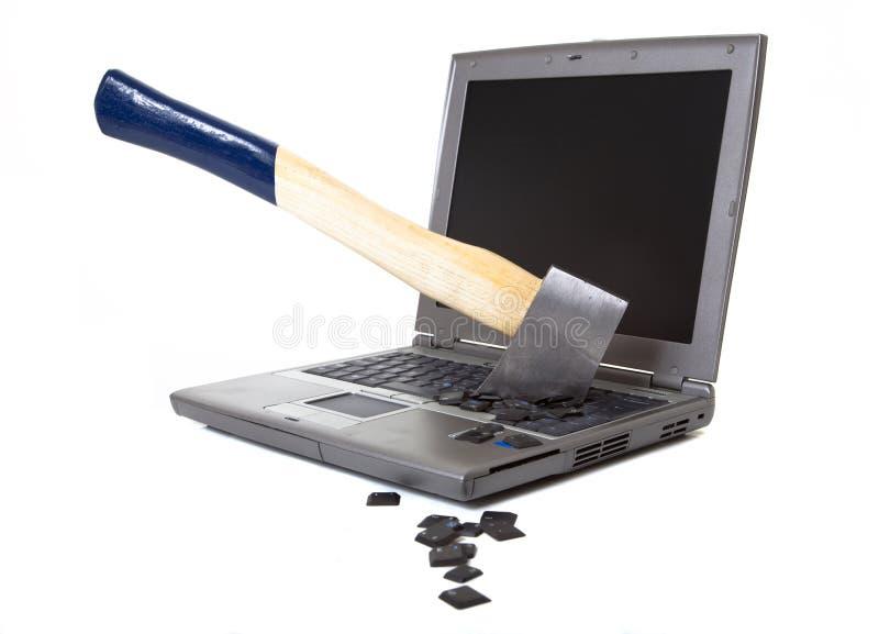 Raiva de encontro aos computadores fotografia de stock