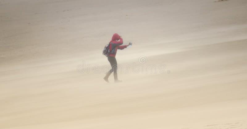 Raiva do vento na praia de Cambersands imagem de stock royalty free