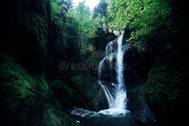 Raj dżungli las z piękną siklawą w zielonym bujny Erawan park w Kanchanaburi, Tajlandia Szmaragdowy staw i obrazy stock