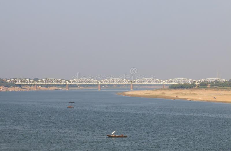 Raj Ghat Bridge Varanasi India images stock