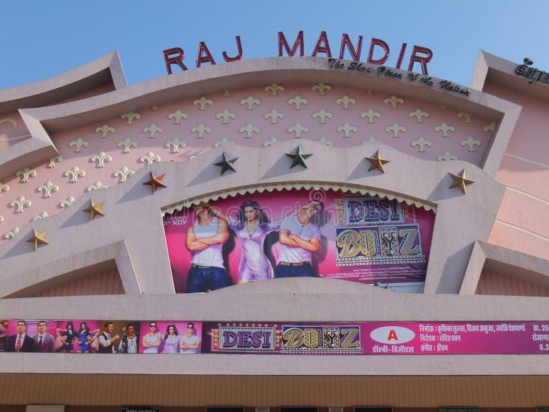 Raj Mandir Cinema em Jaipur, Índia fotografia de stock royalty free