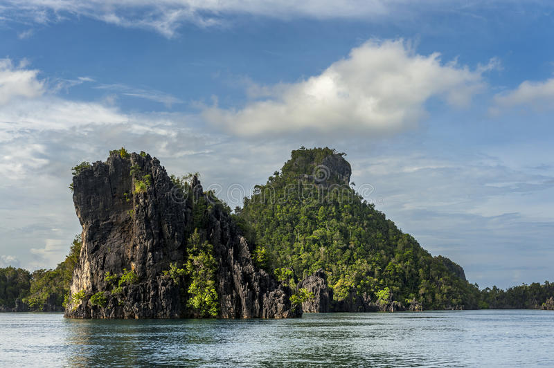 Raja Ampat Islands in West Papua, Indonesia. Raja Ampat is an archipelago comprising over 1,500 small islands and is the part of Coral Triangle which contains royalty free stock image