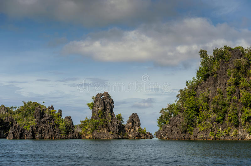 Raja Ampat Islands in West Papua, Indonesia. Raja Ampat is an archipelago comprising over 1,500 small islands and is the part of Coral Triangle which contains stock images