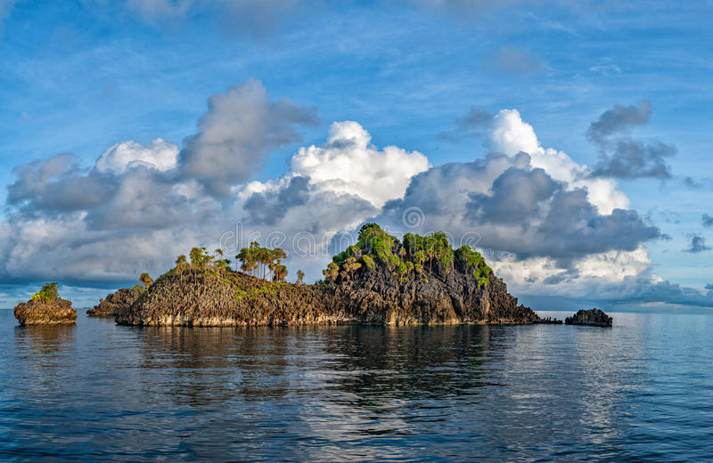 Raja Ampat Papua poster panorama. Tropical Paradise Raja Ampat Papua Indonesia panorama landscape stock photography