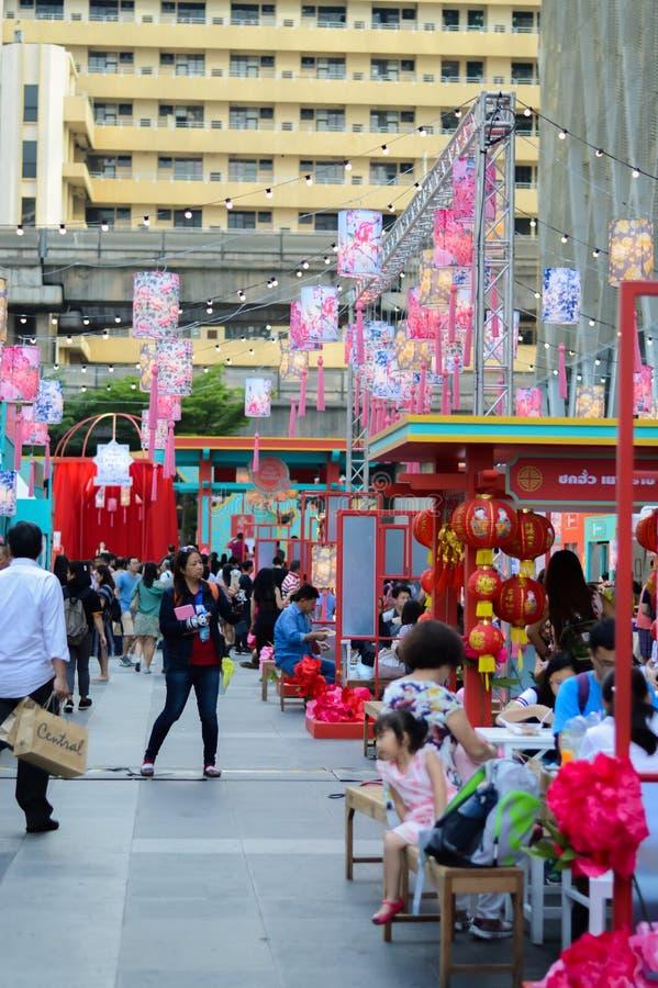 Rajadamri em Banguecoque, Tailândia: Ano novo chinês do 29 de janeiro de 2017, mostras de China imagem de stock