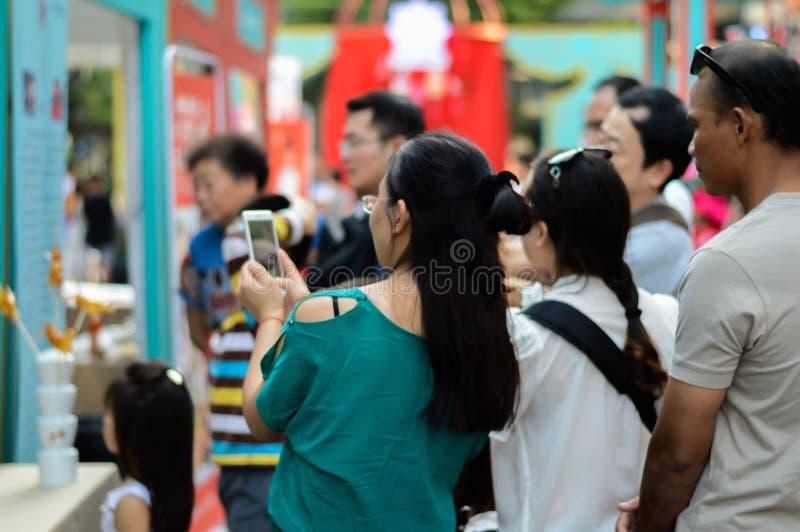 Rajadamri w Bangkok, Tajlandia: Styczeń 29, 2017 Chiński nowy rok, Pokazuje od Chiny zdjęcie royalty free